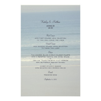 Ocean Love Wedding Menu Cards Stationery