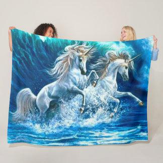 Ocean Magic Unicorn Waves Satin Fleece Blanket