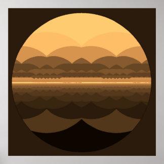 Ocean Mandala. Fractal Landscape print. Poster