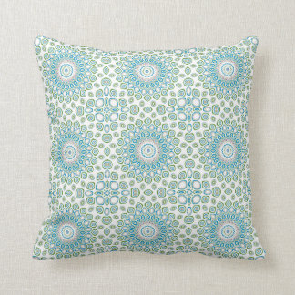 Ocean Mandala in Blue and Gray and White Throw Pillow