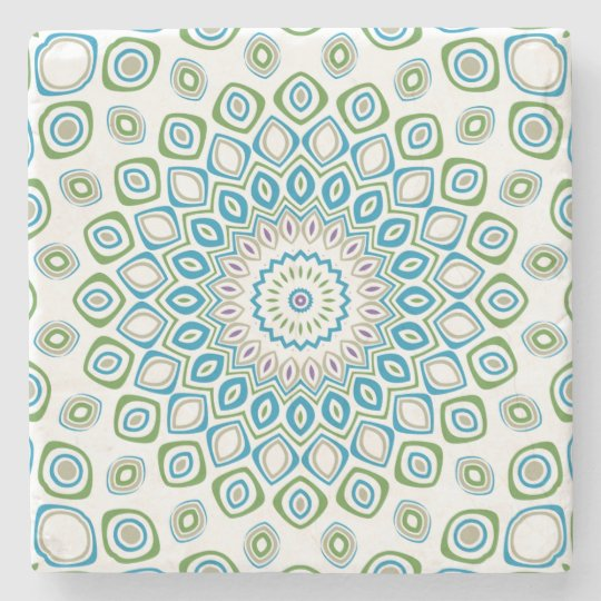Ocean Mandala in Blue and Grey and White