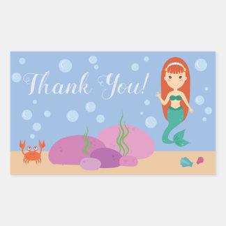 Ocean mermaid saying thank you underwater sticker