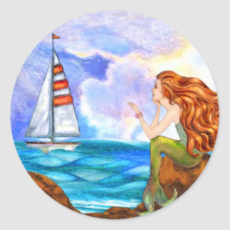 Ocean Mermaid Waving at an Incoming Sailboat Round Sticker