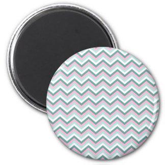 Ocean Mist Chevron Pattern 6 Cm Round Magnet