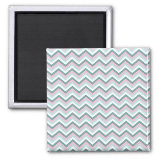 Ocean Mist Chevron Pattern Square Magnet