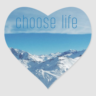 Ocean & Mountain Choose Life Digital Photo Art Heart Sticker