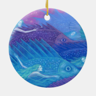 """Ocean nomads"" fantasy art, mermaids, fishes & sea Round Ceramic Decoration"