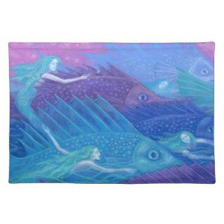 Ocean Nomads, Nautical Fantasy Art Mermaids & Fish Placemat