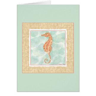 Ocean Orange Seahorse Card