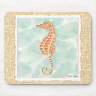 Ocean Orange Seahorse Mouse Mat