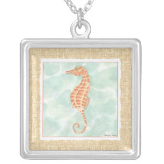 Ocean Orange Seahorse Silver Plated Necklace