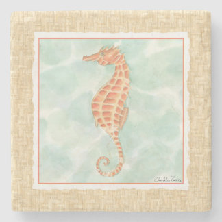 Ocean Orange Seahorse Stone Coaster