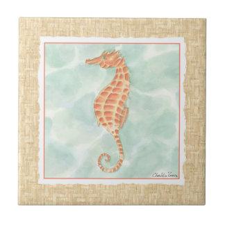 Ocean Orange Seahorse Tile