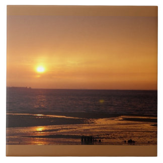 Ocean orange sunset Tile