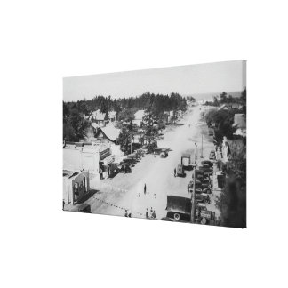 Ocean Park, WA - View of Beach, Old Cars Canvas Print