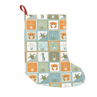 Ocean Patchwork Small Christmas Stocking