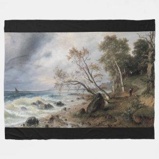 Ocean Sailboat Beach Forest Path Fleece Blanket