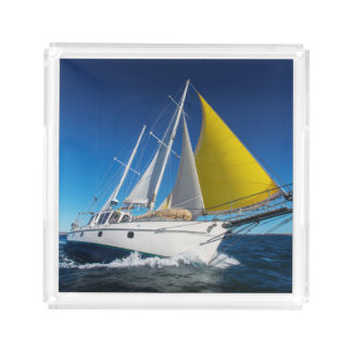 Ocean Sailing In A Yacht Acrylic Tray