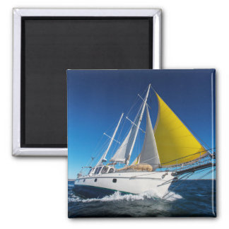 Ocean Sailing In A Yacht Square Magnet