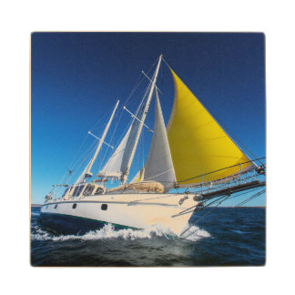 Ocean Sailing In A Yacht Wood Coaster