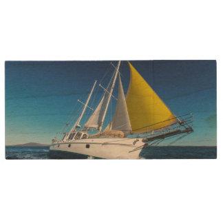 Ocean Sailing In A Yacht Wood USB Flash Drive