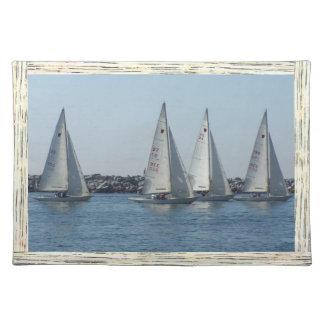 Ocean Sailing Sailboats Boats Harbor Sea Marina Placemat