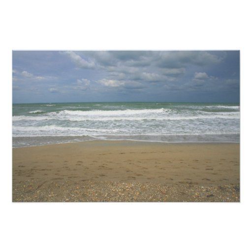 Ocean Sand Sky Faded background Poster