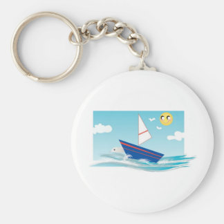 Ocean Scene with Sailboat Key Ring