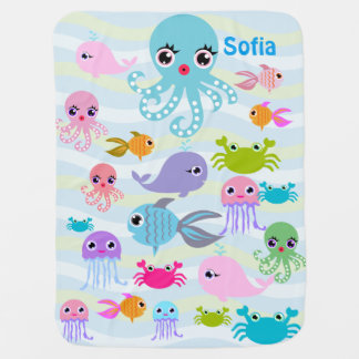 ocean sea Baby Blanket, octopus, crab, fish, jelly Receiving Blankets