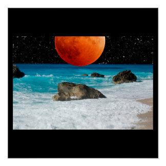 Ocean Sea Beach Rock Sand Moon Stars Personalize