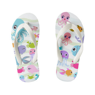 ocean sea fish, jellyfish,  Flip Flops, Kids Flip Flops