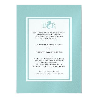 Ocean Sea horse Monogram Wedding Card