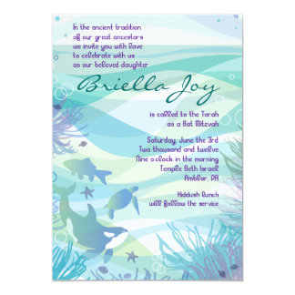 Ocean Sea Life Bat Mitzvah Invitation
