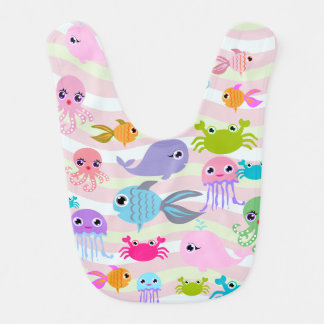ocean sea octopus, crab, fish, jellyfish Baby Bib