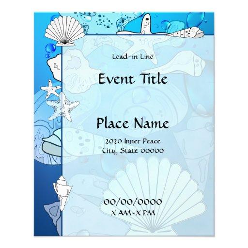 Ocean Sea Shells Small Event Flyer