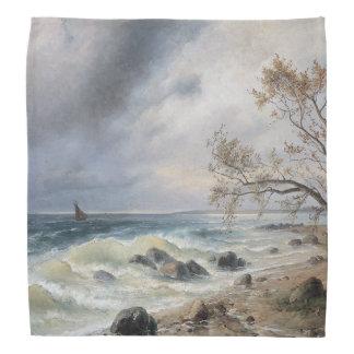 Ocean Sea Waves Sailboat Painting Bandana