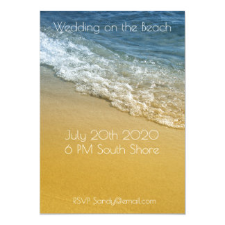 Ocean, Seashore View Beach Shoreline Sandy 13 Cm X 18 Cm Invitation Card