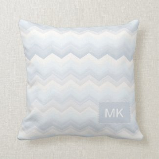 Ocean Shades Watercolor Chevron Cushion