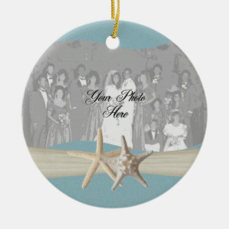 Ocean Sky Blue Starfish Photo Christmas Ornament