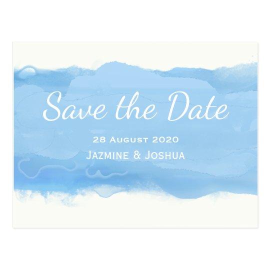 Ocean Sky blue watercolor save the date Postcard