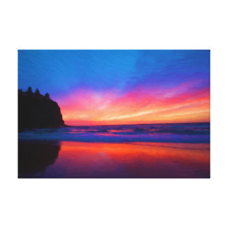 Ocean Sky Scape Oil Painting Print Wrapped Gallery Wrapped Canvas