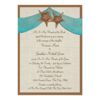 Ocean Starfish and Net Wedding 13 Cm X 18 Cm Invitation Card