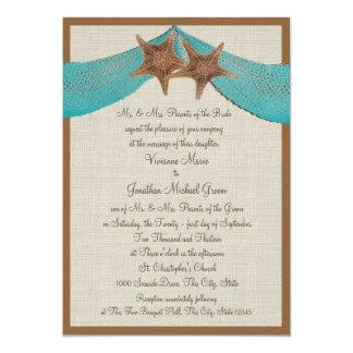 Ocean Starfish and Net Wedding 13 Cm X 18 Cm Invitation Card
