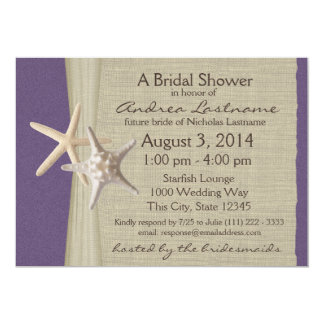 Ocean Starfish Purple Bridal Shower Card