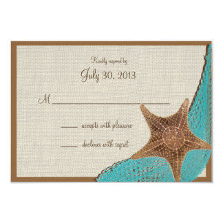 Ocean Starfish Response Card 9 Cm X 13 Cm Invitation Card