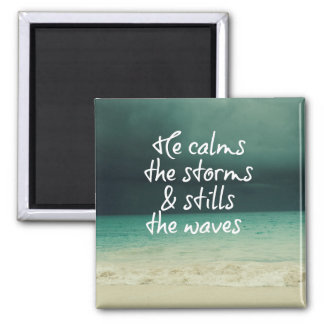 Ocean Storm with God Quote Magnet