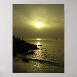 Ocean sunrise, Arabian gulf, Kuwait Posters