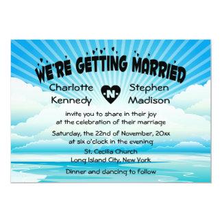 Ocean Sunrise Blue Scenic Wedding Invitation