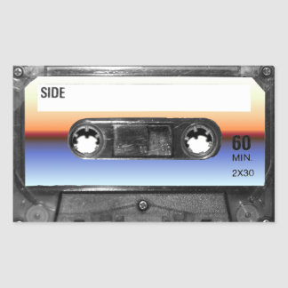 Ocean Sunrise Cassette Rectangular Sticker