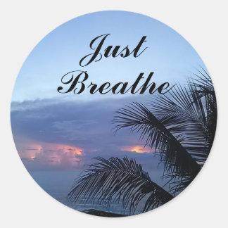 Ocean Sunrise Palm Tree Just Breathe Round Sticker